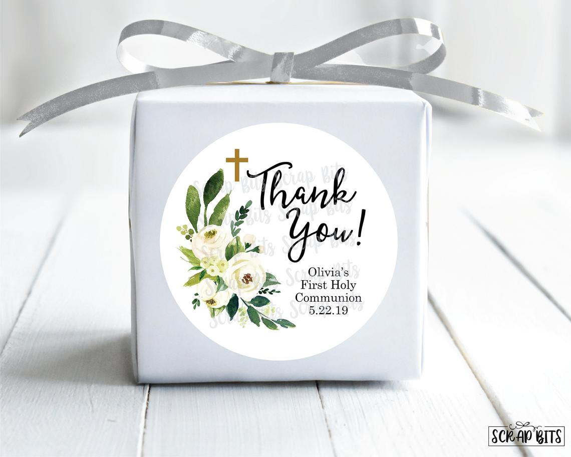 White Floral First Communion Favor Stickers or Tags