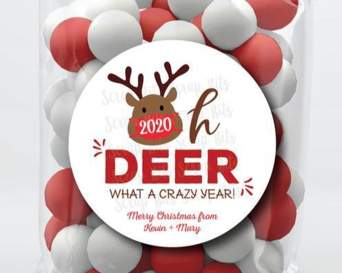 Oh Deer, What A Crazy Year Stickers or Tags . Christmas Gift Labels
