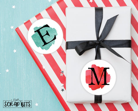 Watercolor Initial Christmas Stickers or Tags . Christmas Gift Labels