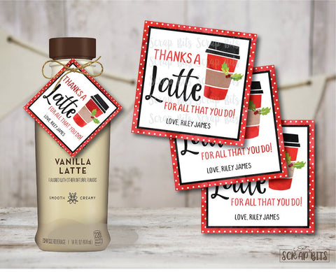 Thanks a Latte Christmas Gift Labels . Square Stickers or Printable Tags