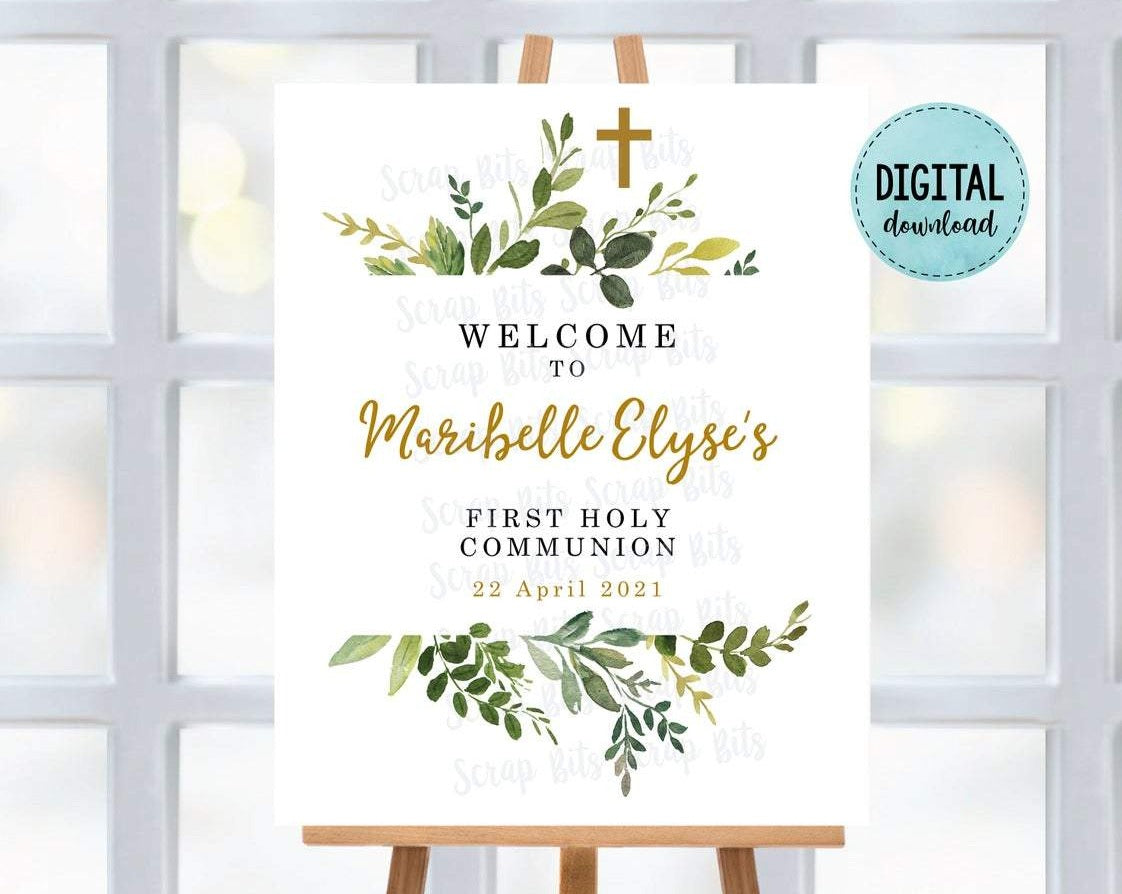 First Communion Welcome Sign, Watercolor Greenery . Digital Download