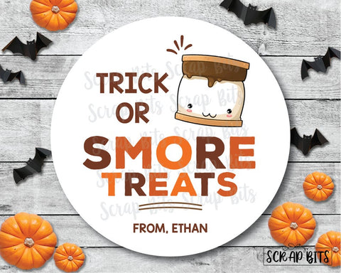 Trick or Smore Treats . Halloween Stickers or Tags