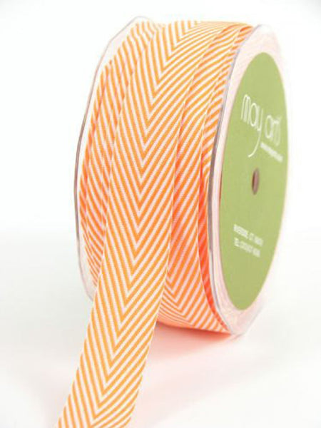"Chevron Twill Herringbone Ribbon - Orange & White 3/4"" Width"
