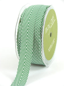 "Chevron Twill Herringbone Ribbon - Hunter Green & White 3/4"" Width"