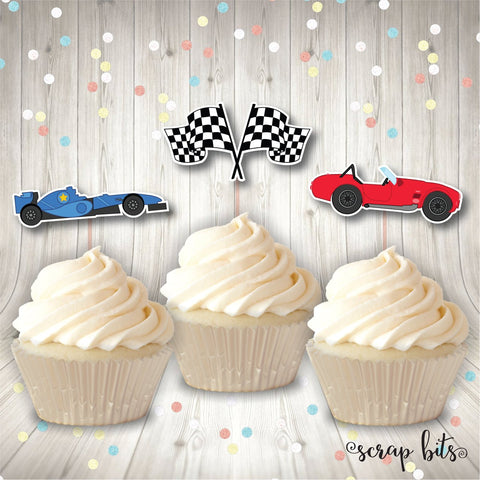 Racing Party Cupcake Toppers . Cupcake Topper Kit