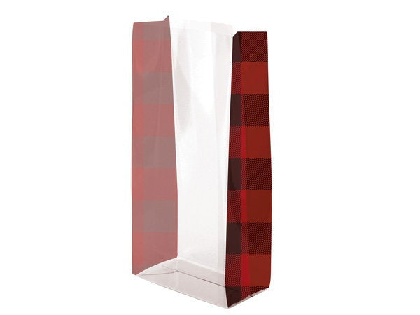 "Buffalo Plaid Favor Bags, Cello Treat Bags . 4""x2""x9"""