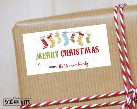 Christmas Stockings Stickers . Rectangular Christmas Gift Labels