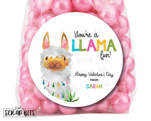 You're a LLAMA Fun . Llama Valentine's Day Stickers or Tags