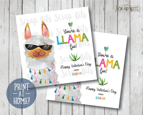 You're a LLAMA Fun . Llama Valentines . Square Stickers or Printable Tagsv