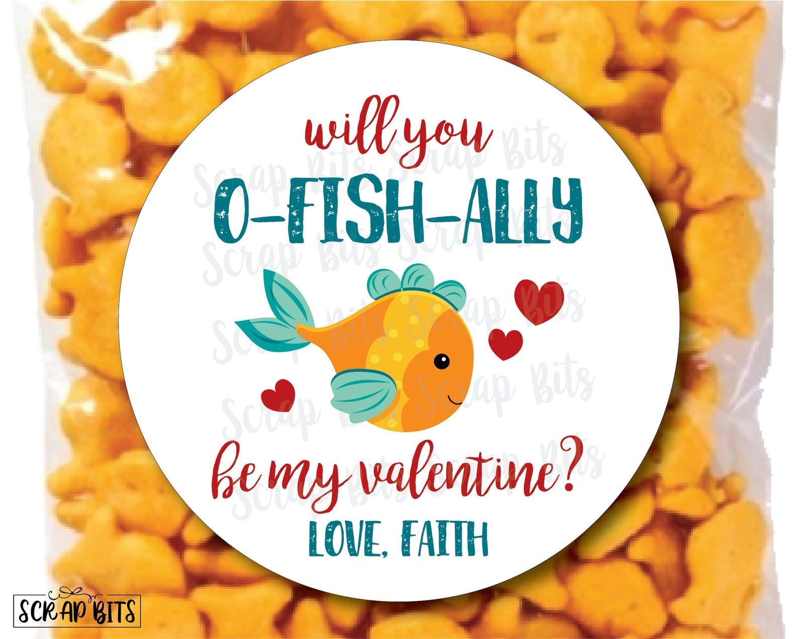 Will You O-Fish-Ally Be My Valentine . Goldfish Valentines . Valentine's Day Stickers or Tags