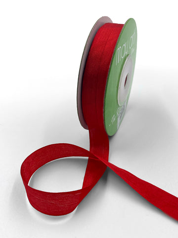 "1/2"" Hand Dyed Silk Ribbon with Woven Edge . Red Silk Ribbon . 3 yards"