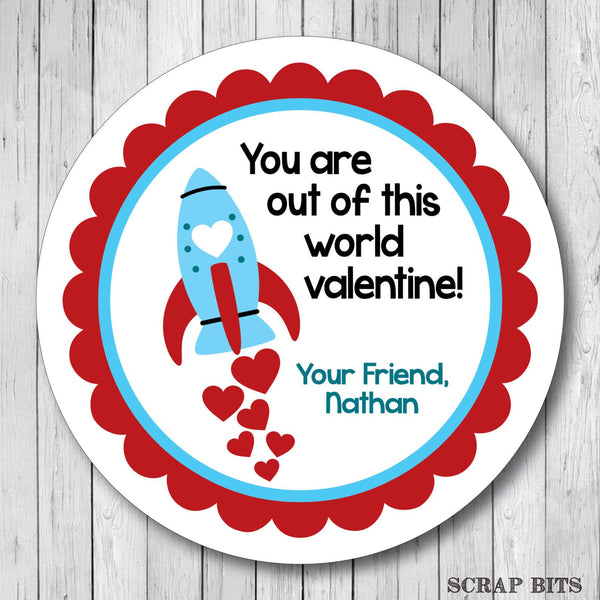 You Are Out Of This World . Rocket Valentine's Day Stickers or Tags