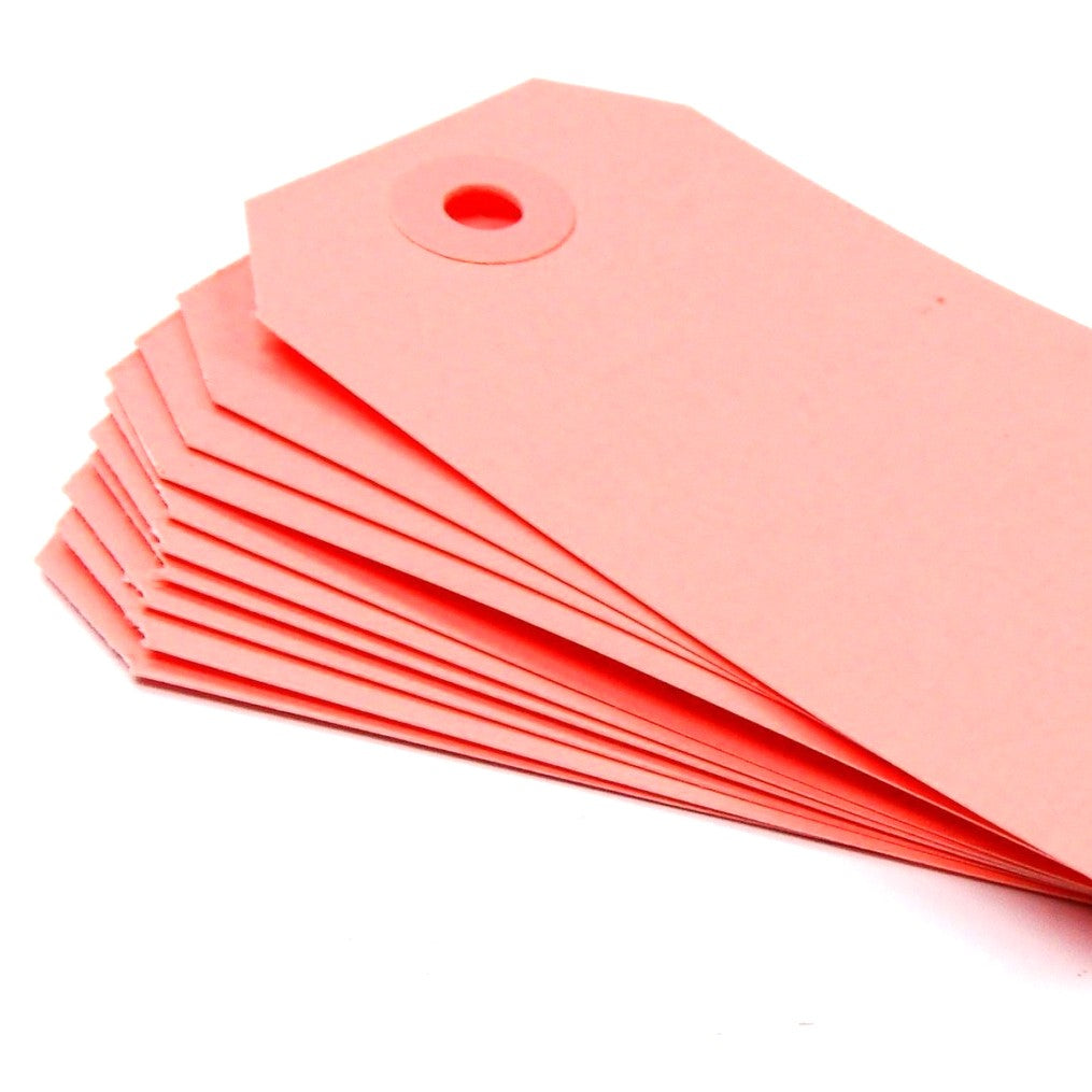 "Medium Colored Shipping Tags in Pink . Size 3 (3.75"" x 1.875"")"