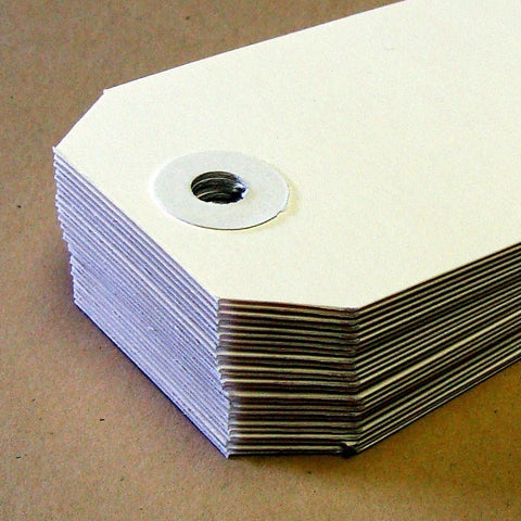 "Medium Colored Shipping Tags in White. Size 3 (3.75"" x 1.875"")"