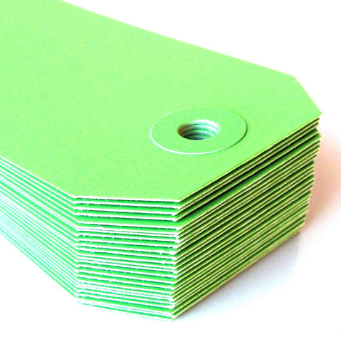 "Medium Colored Shipping Tags in Green . Size 3 (3.75"" x 1.875"")"