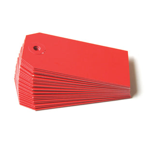 "Medium Colored Shipping Tags in Red . Size 3 (3.75"" x 1.875"")"