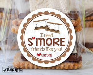 I Need S'more Friends Like You . Smore Stickers . Valentine's Day Stickers or Tags