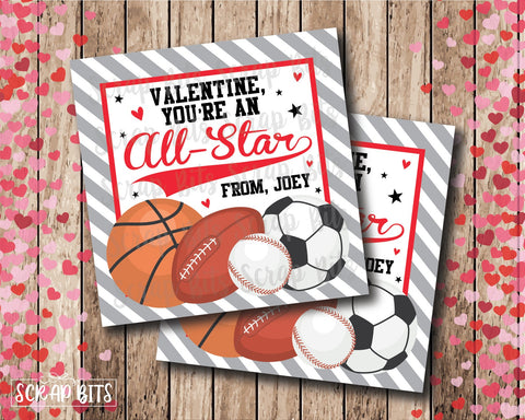 You're An All Star . Sports Valentines . Square Stickers or Printable Tags