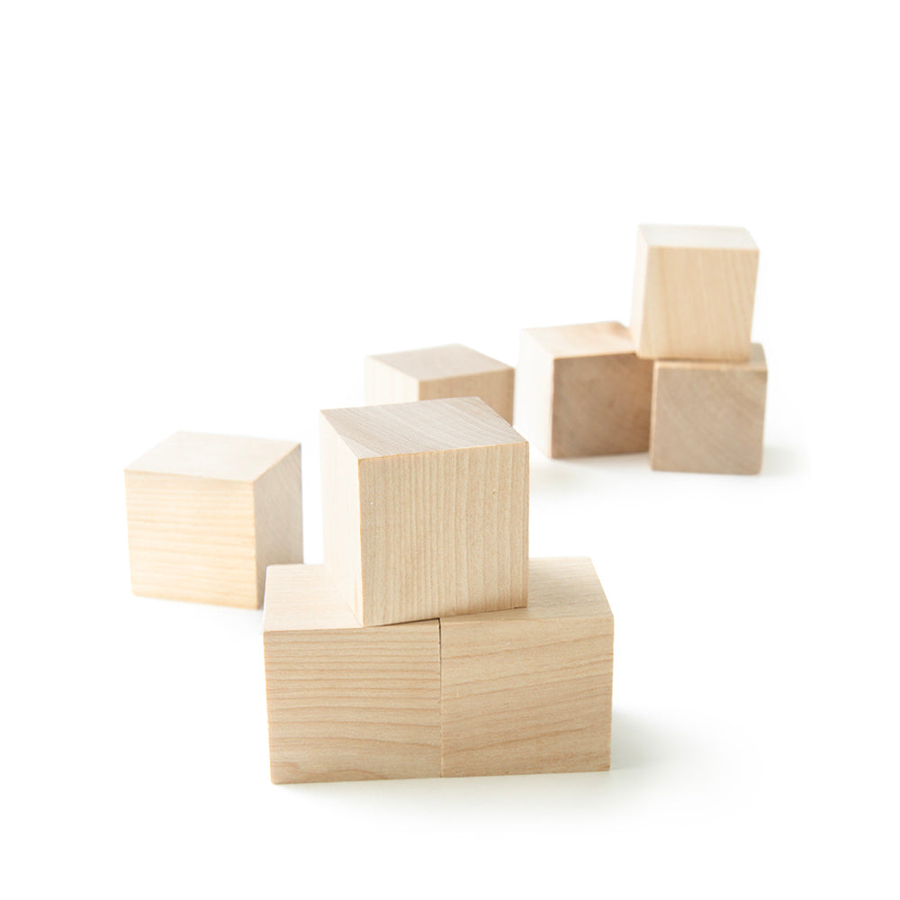 "1.5"" Wood Cubes . Small Wood Blocks, Unfinished - Set of 10"