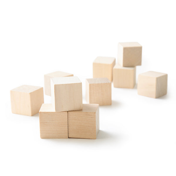 "1"" Wood Cubes . Small Wood Blocks, Unfinished - Set of 10"