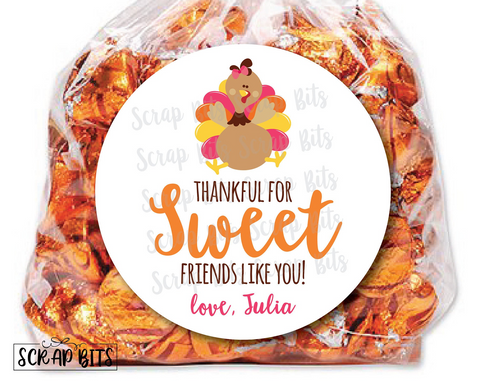 Turkey Thankful For Sweet Friends Like You Stickers or Tags