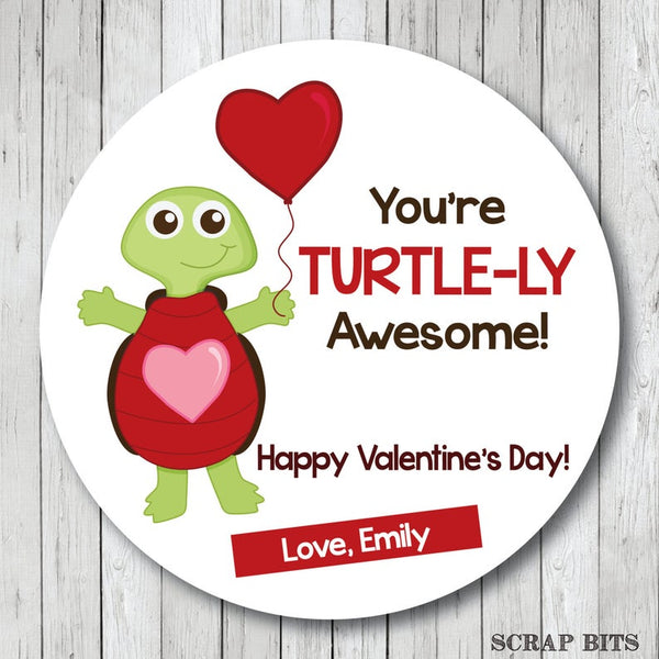 You're Totally Awesome Turtle Valentines . Valentine's Day Stickers