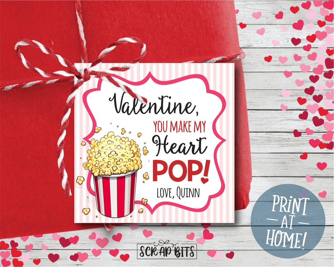 You Make My Heart Pop . Popcorn Valentines . Square Stickers or Printable Tags