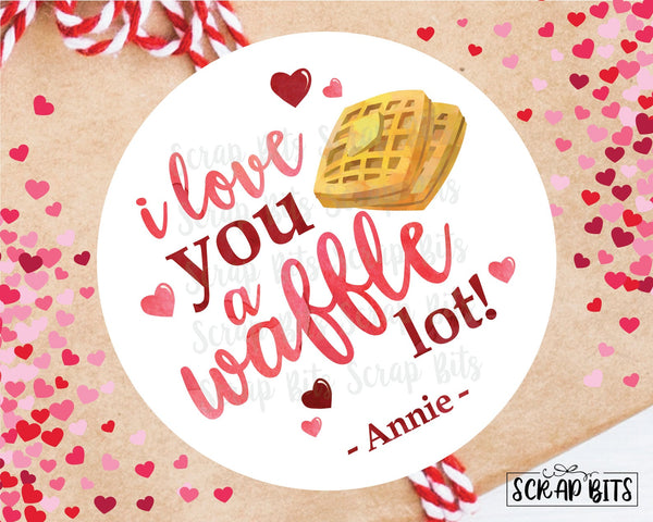 I Like You A Waffle Lot . Valentine's Day Stickers or Tags