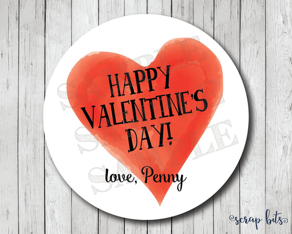 Watercolor Red Heart Valentines . Valentine's Day Stickers or Tags