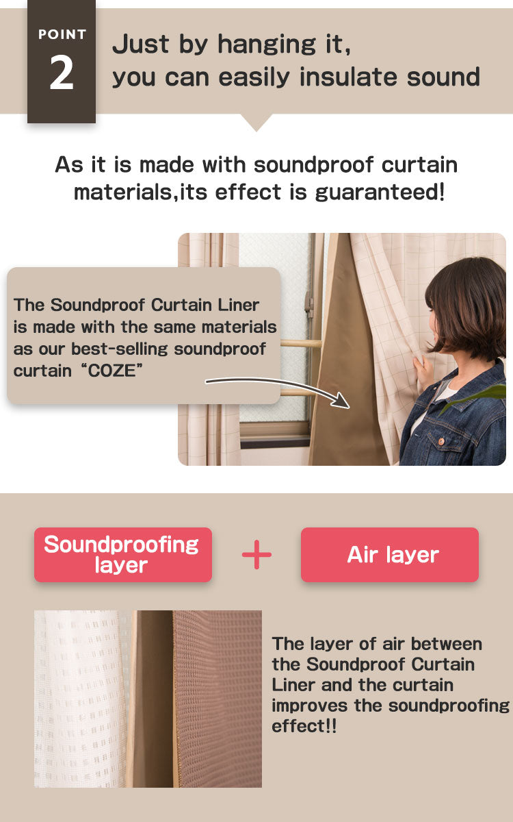 Just by hanging it, you can easily insulate sound