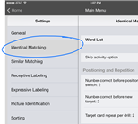 Image identifying the button to tap to access the settings for identical matching