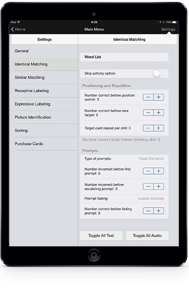 Picture of Language Builder Settings in an iPad