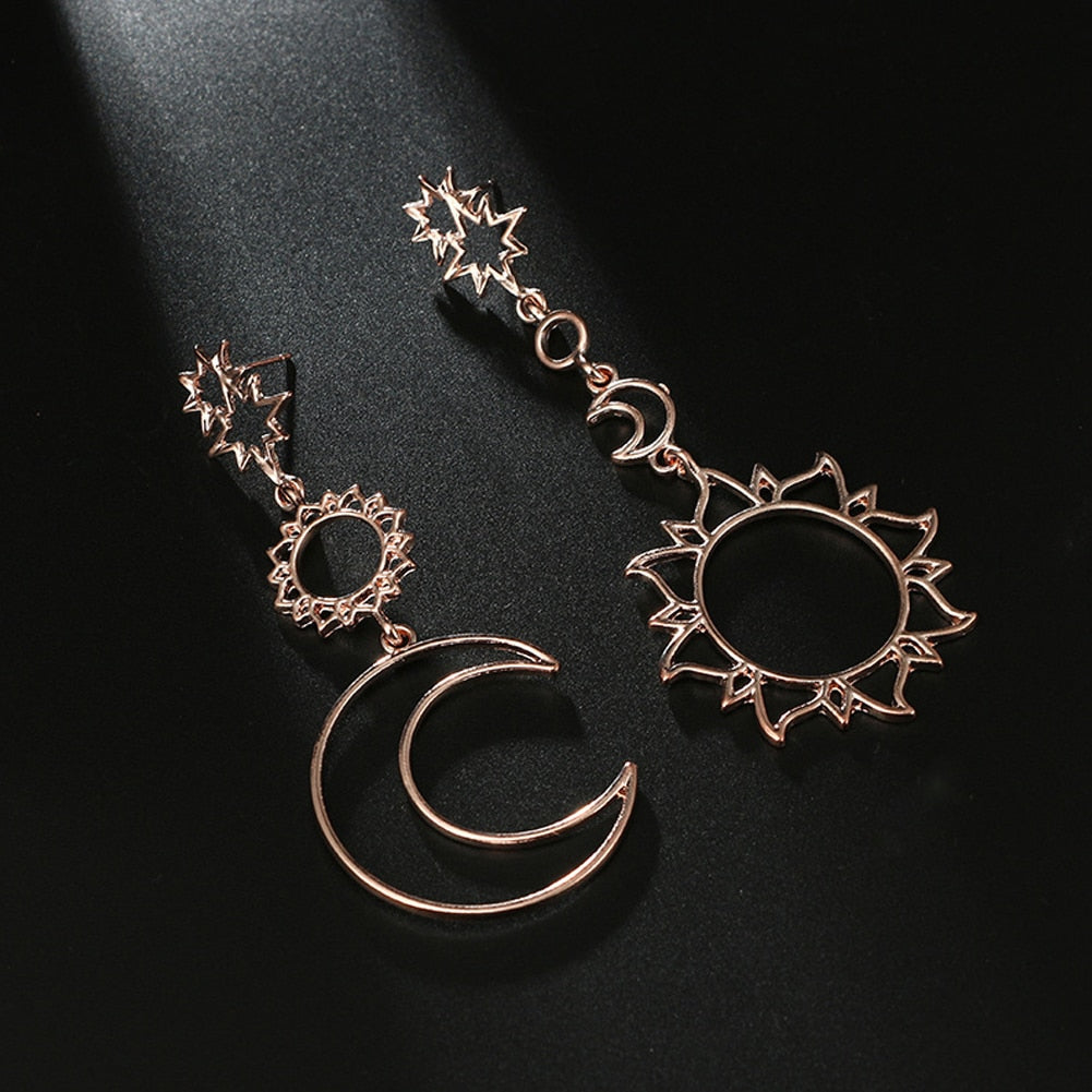 Bohemia Rose Moon Statement  Earrings