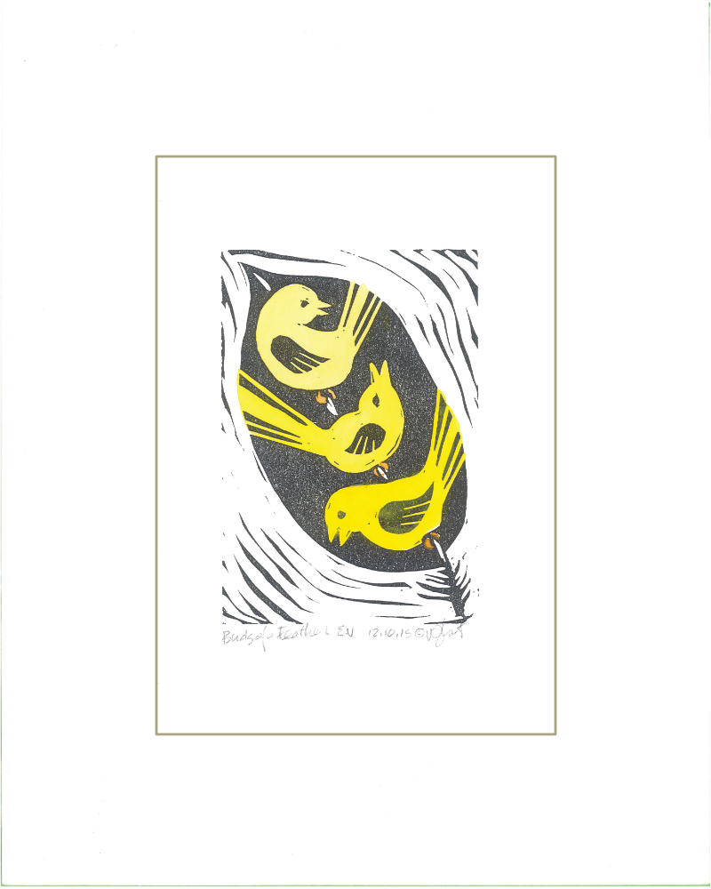 """Birds of a Feather"" Linoleum Block Print - Hand Painted Yellow"
