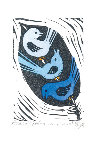 """Birds of a Feather"" Linoleum Print – Hand Painted in Blue"