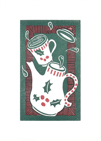 """Holly Tea Time"" - Letterpress Printed Card"
