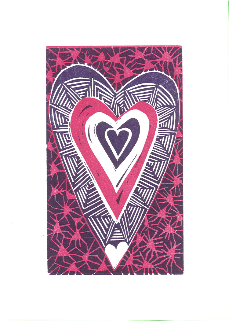 """Jazzy Heart"" - Letterpress Printed Card"