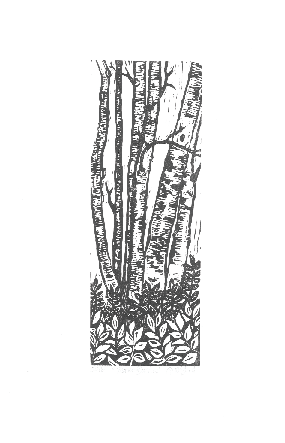 """Moran Birches"" Linoleum Print - Open Edition"