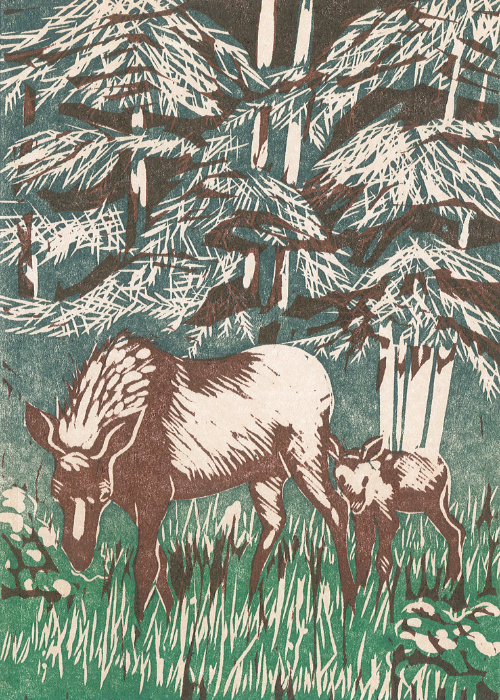 """Mother Moose and Baby"" - Wendy Shaft Block Printed Images"