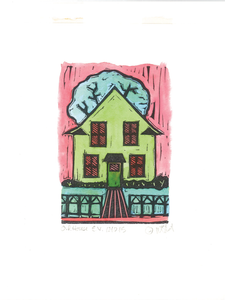 """Oak Park House"" – Hand Painted Green Pink"