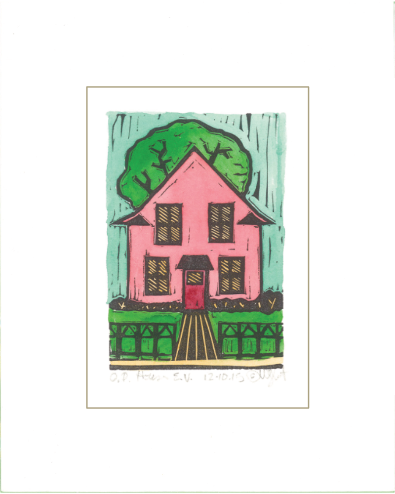 """Oak Park House"" – Hand Painted Pink Teal"