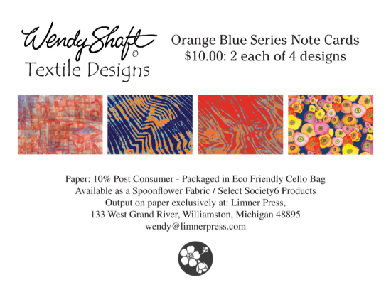 """Oranges and Blues"" Wendy Shaft Textile Designs Note Cards 2 each of 4"