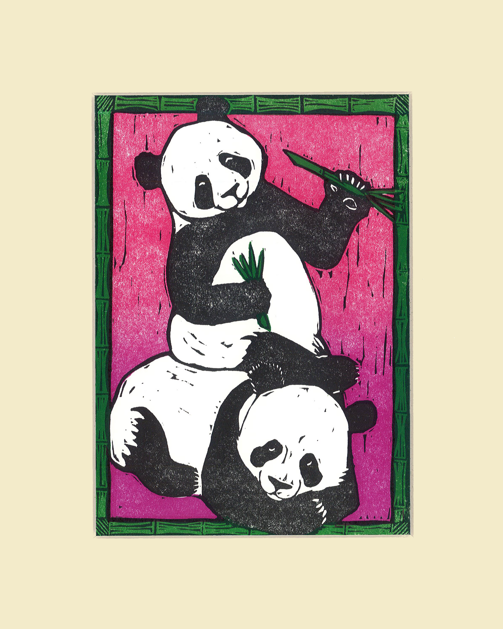 """Panda Play"" – Wendy Shaft Block Printed Images"