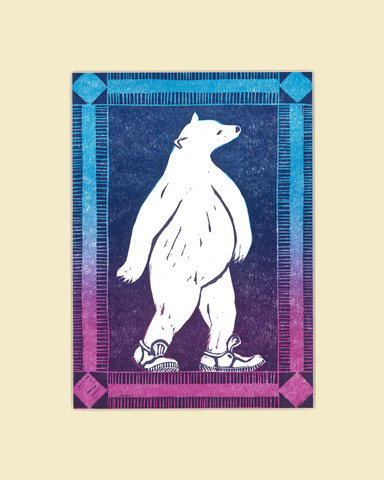 """Strolling Bear"" – Wendy Shaft Block Printed Images"