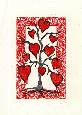 """Tree of Hearts"" -  Letterpress Printed Card"