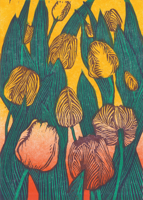 """Tulip"" - Wendy Shaft Block Printed Images"