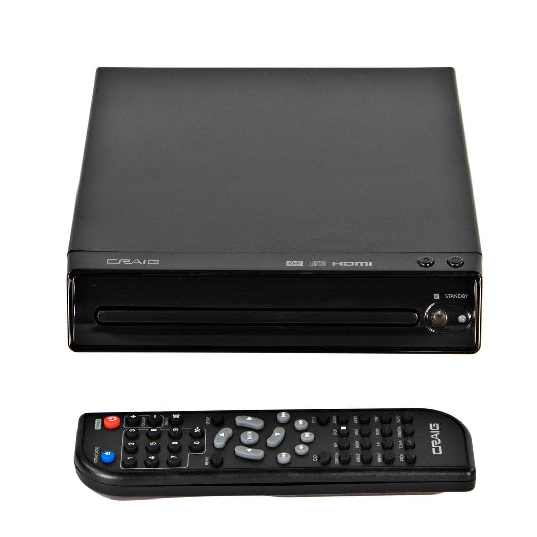 Craig CVD401A Compact HDMI DVD Player with Remote in Black