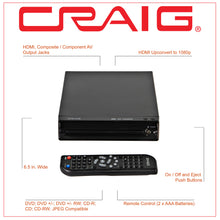 Load image into Gallery viewer, Craig CVD401A Compact HDMI DVD Player with Remote in Black