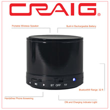 Load image into Gallery viewer, Craig CMA3568-BK Portable Speaker with Bluetooth Wireless Technology in Black