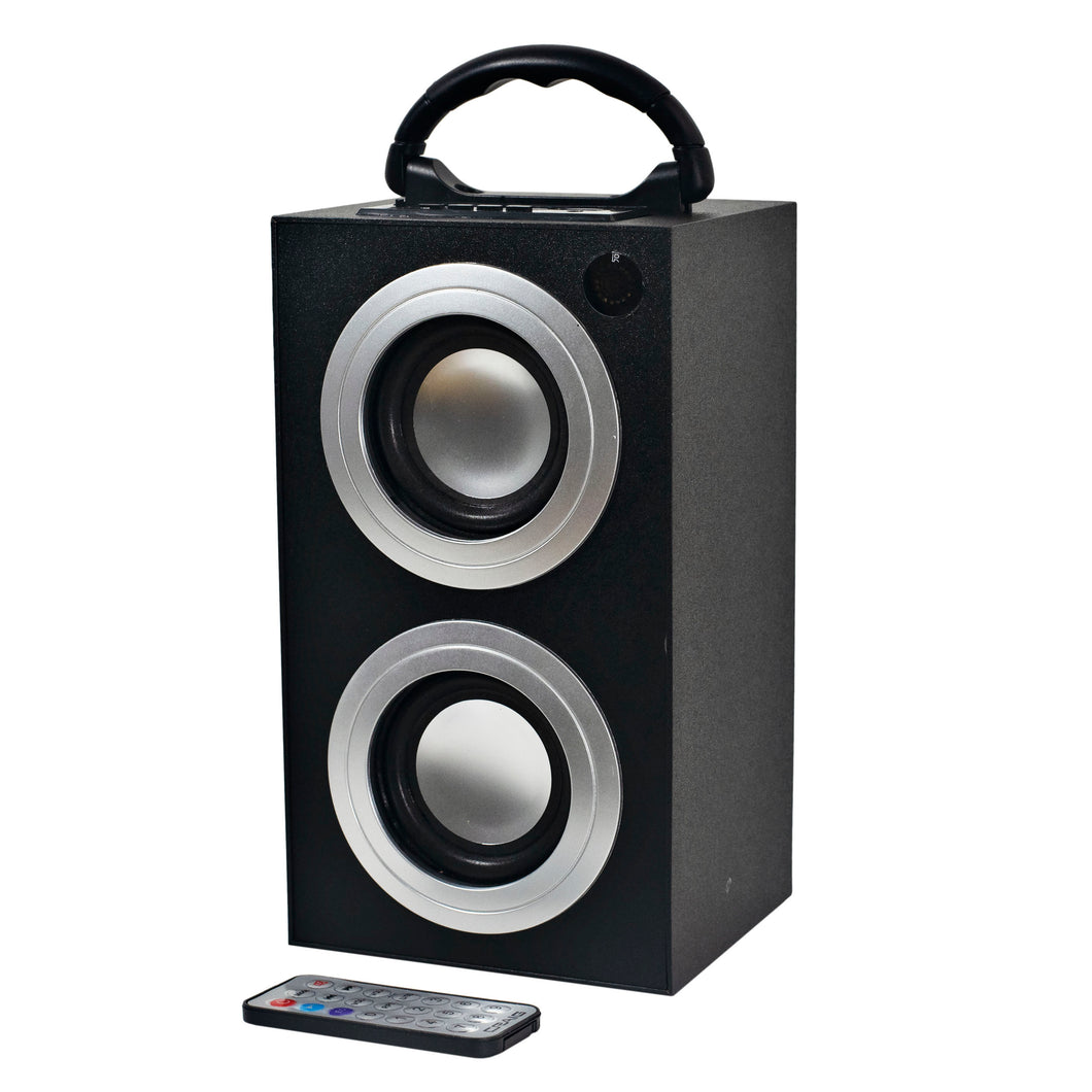 Craig CR4189 Portable Mini Tower Speaker with FM Radio and USB/SD Slot in Black